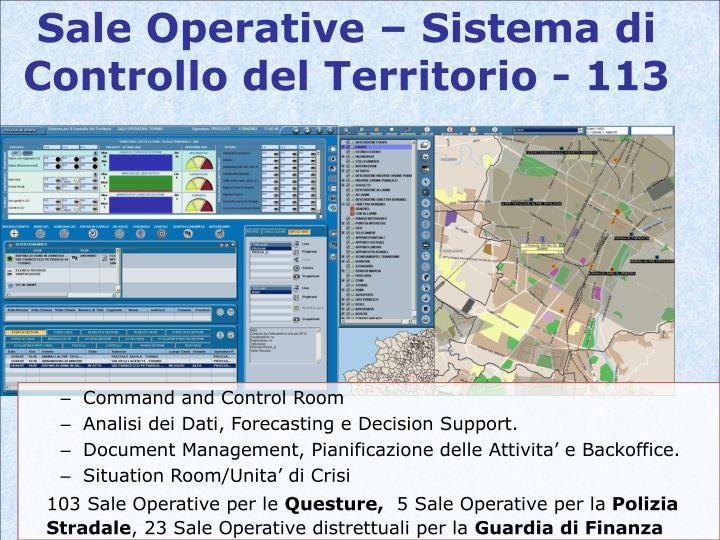 Sale Operative – Sistema di Controllo del Territorio - 113