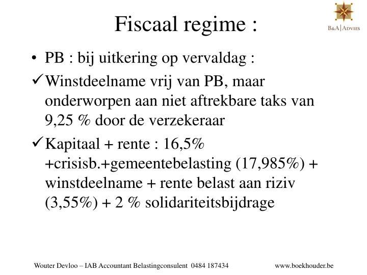 Fiscaal regime :