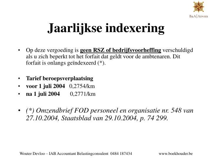 Jaarlijkse indexering