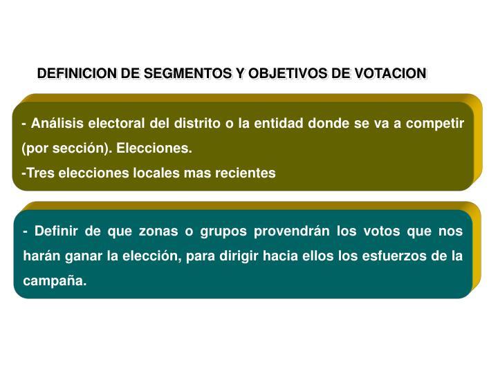 DEFINICION DE SEGMENTOS Y OBJETIVOS DE VOTACION
