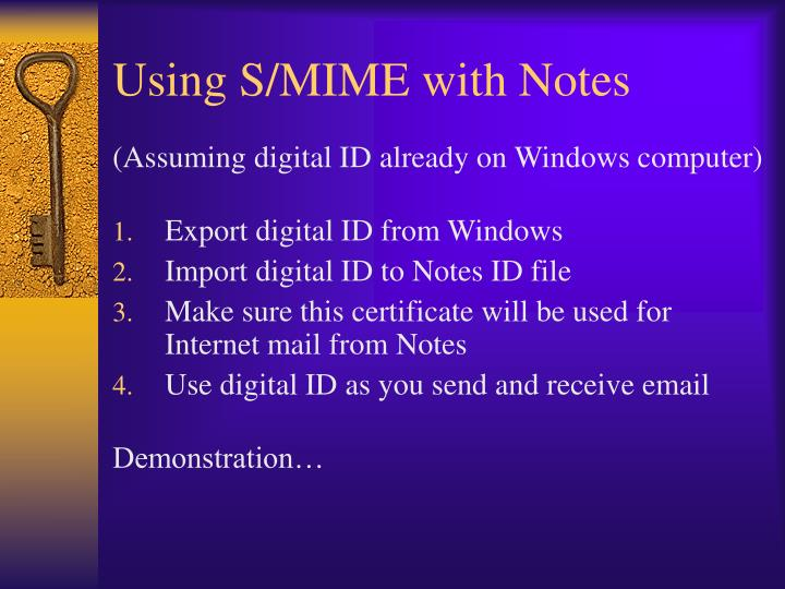 Using S/MIME with Notes
