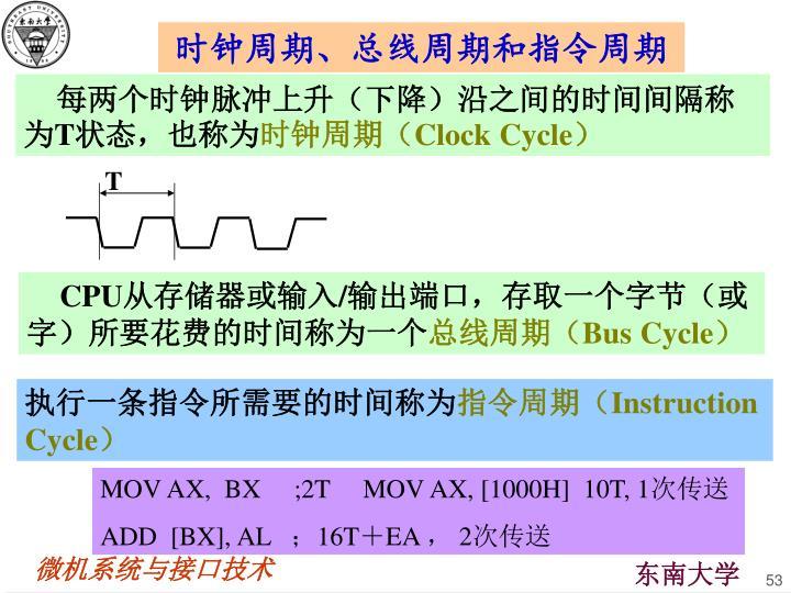 时钟周期、总线周期和指令周期