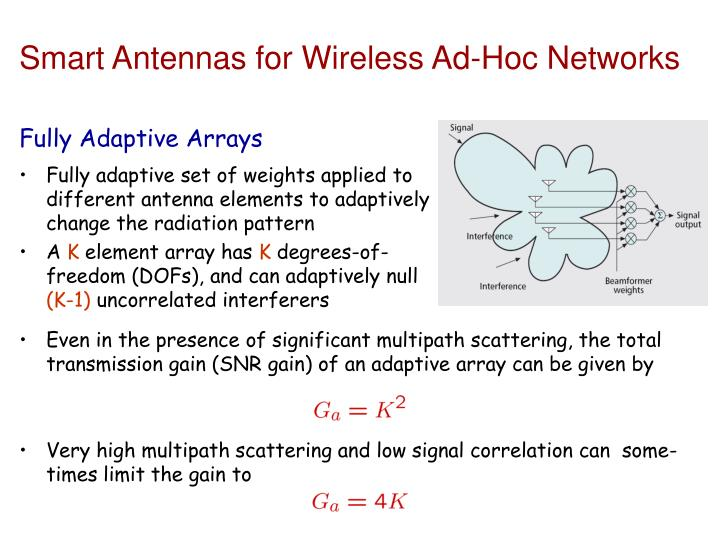 Smart Antennas for Wireless Ad-Hoc Networks