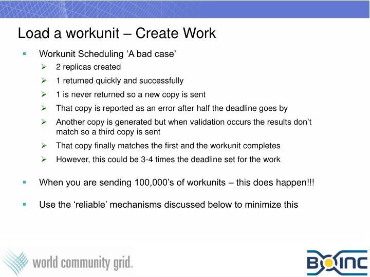 Load a workunit – Create Work