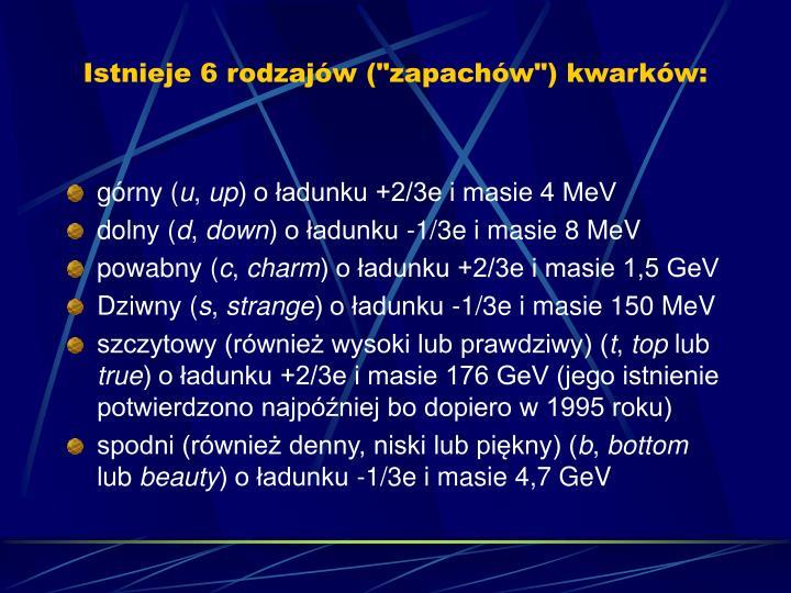 """Istnieje 6 rodzajw (""""zapachw"""") kwarkw:"""