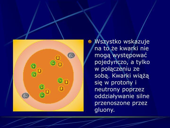 Wszystko wskazuje na to e kwarki nie mog wystpowa pojedynczo, a tylko w poczeniu ze sob. Kwarki wi si w protony i neutrony poprzez oddziaywanie silne przenoszone przez gluony.
