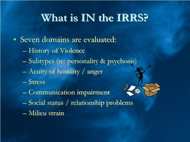 What is IN the IRRS?