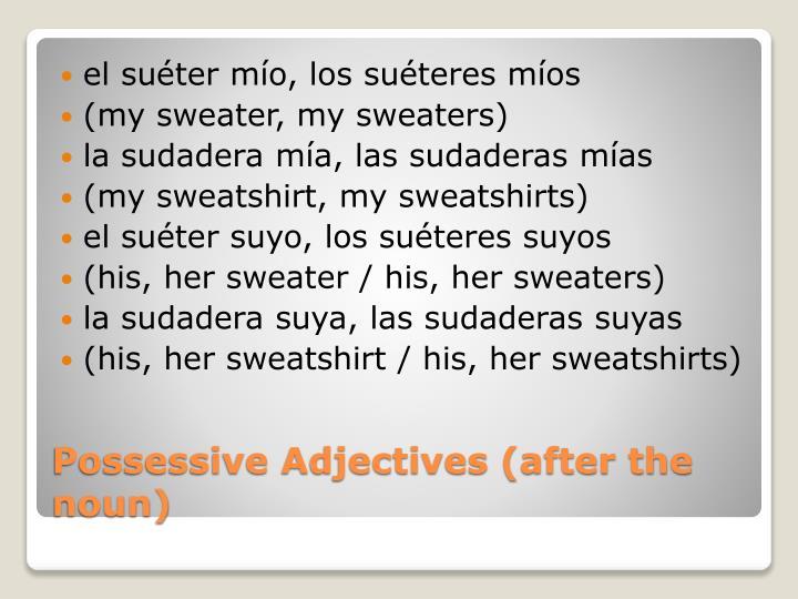 el suéter mío, los suéteres míos