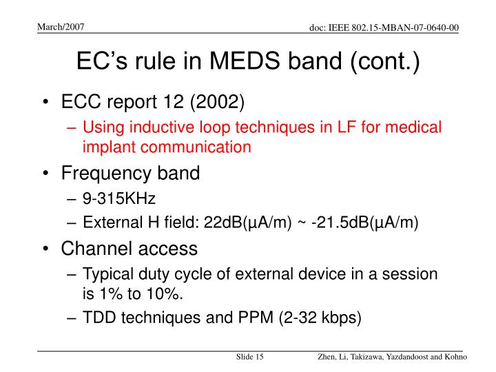 EC's rule in MEDS band (cont.)