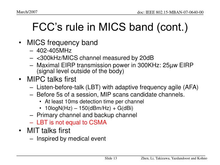 FCC's rule in MICS band (cont.)