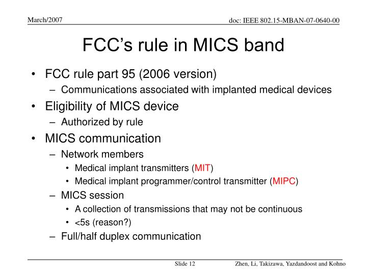 FCC's rule in MICS band
