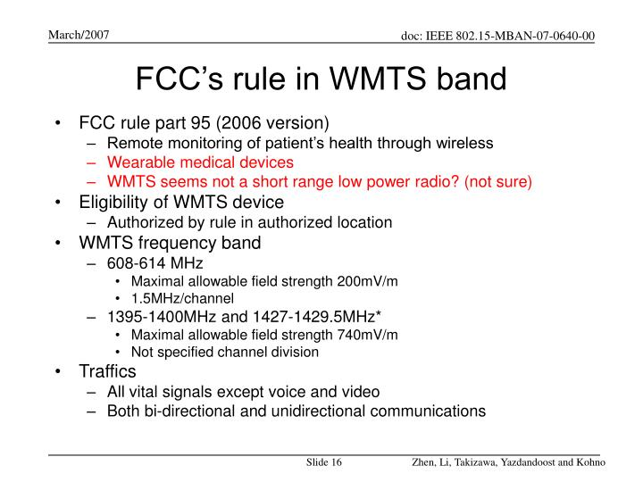 FCC's rule in WMTS band