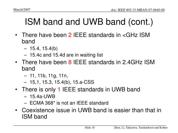 ISM band and UWB band (cont.)