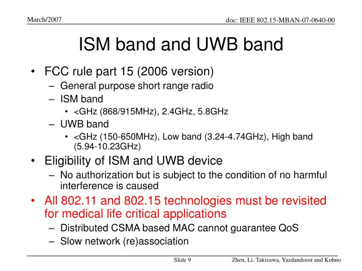 ISM band and UWB band