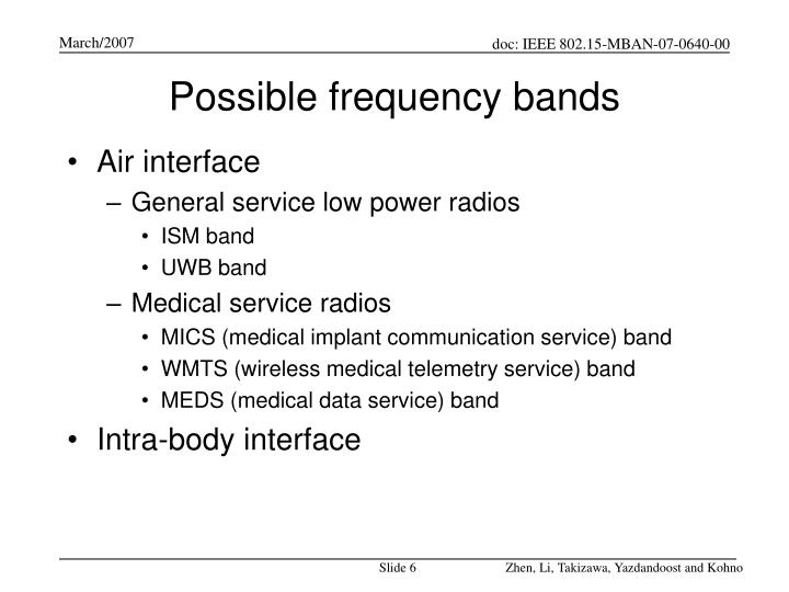 Possible frequency bands
