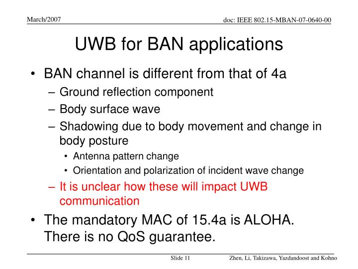 UWB for BAN applications