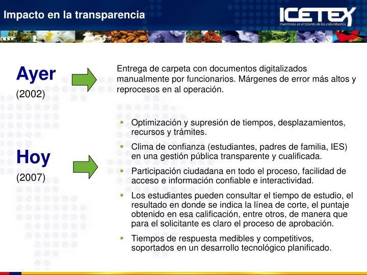 Impacto en la transparencia