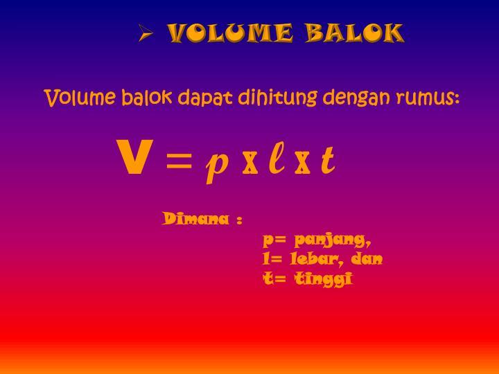 VOLUME BALOK