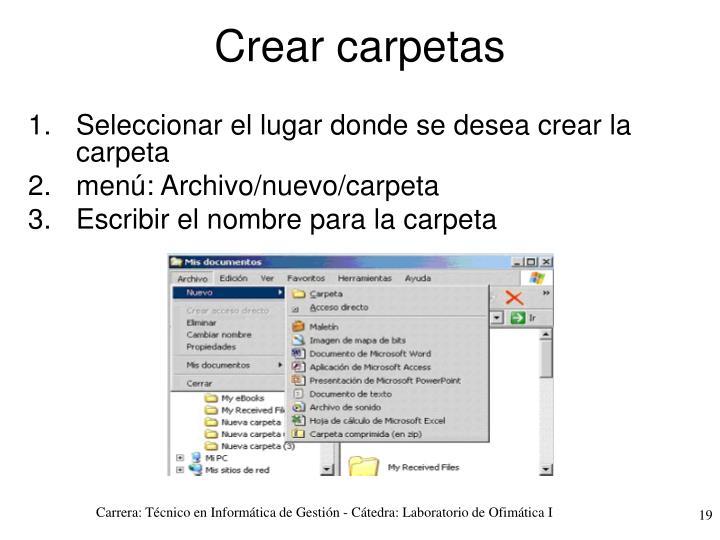 Crear carpetas