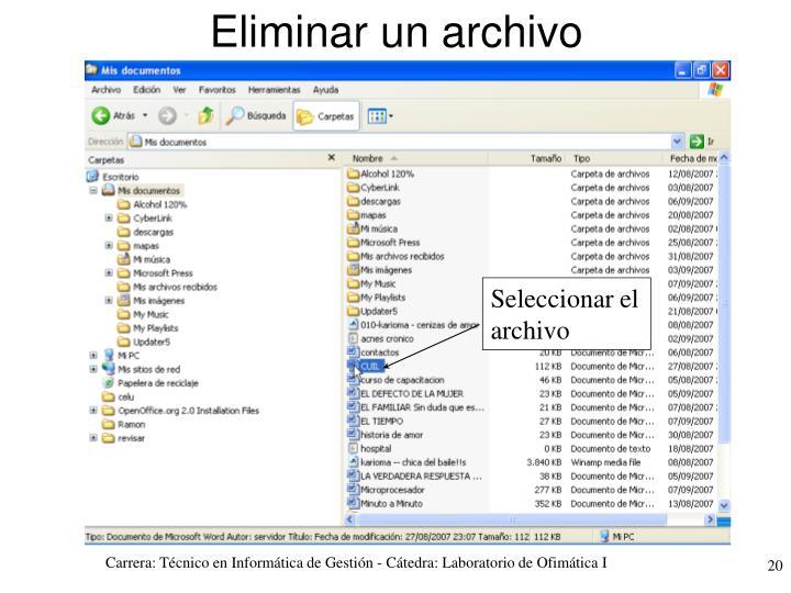 Seleccionar el archivo