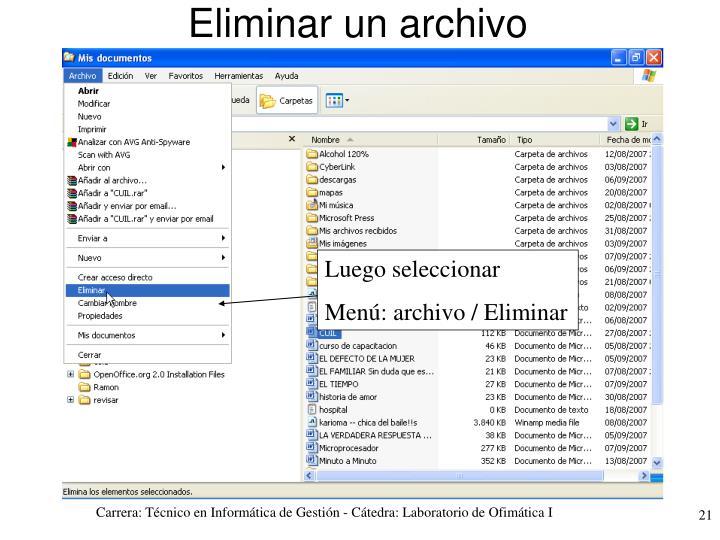 Eliminar un archivo