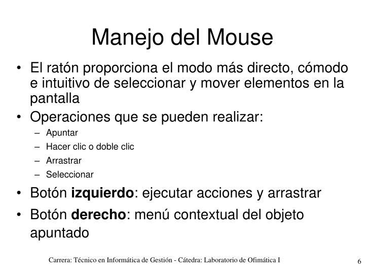 Manejo del Mouse
