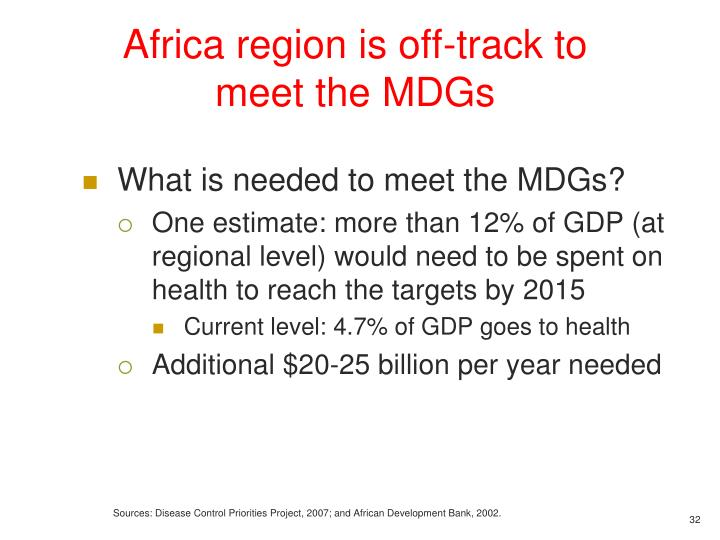 Africa region is off-track to meet the MDGs