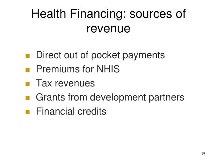 Health Financing: sources of revenue