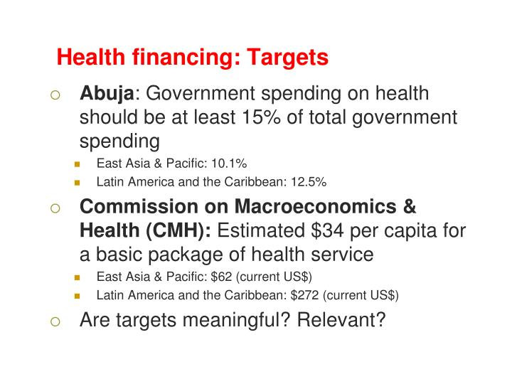 Health financing: Targets