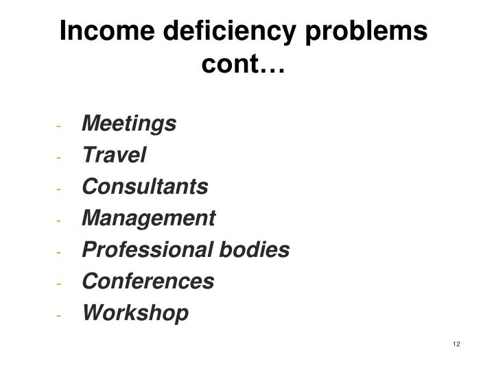 Income deficiency problems cont…