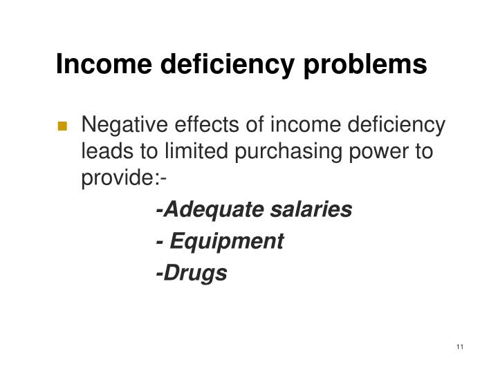 Income deficiency problems