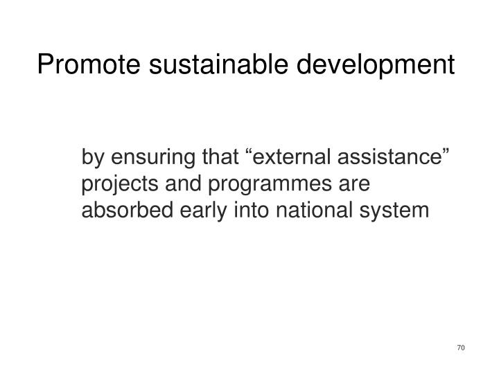 Promote sustainable development