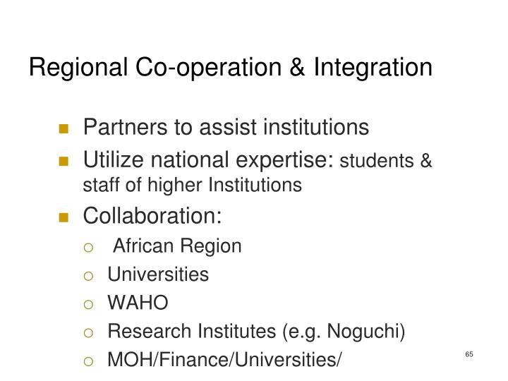 Regional Co-operation & Integration