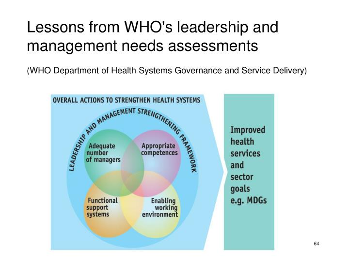 Lessons from WHO's leadership and management needs assessments