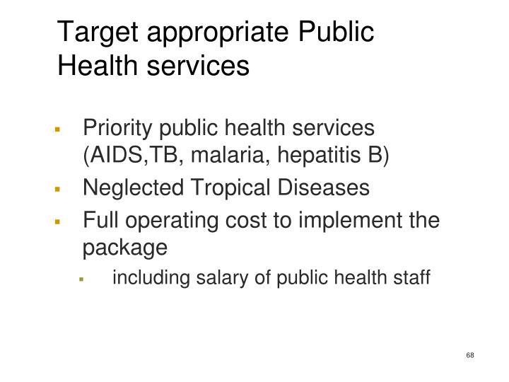 Target appropriate Public Health services