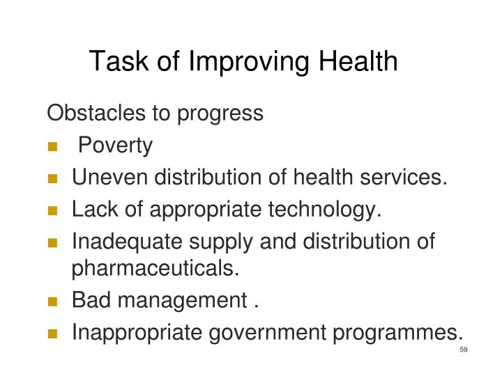 Task of Improving Health