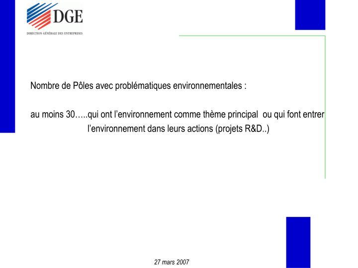 Nombre de Pôles avec problématiques environnementales :