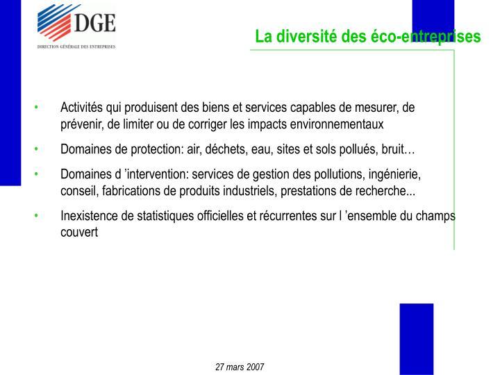 La diversité des éco-entreprises