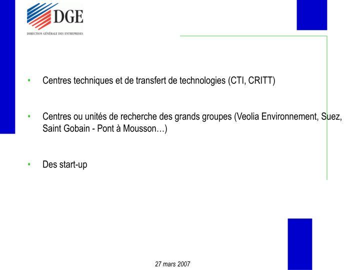 Centres techniques et de transfert de technologies (CTI, CRITT)