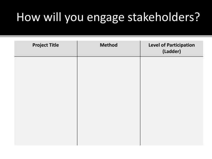 How will you engage stakeholders?