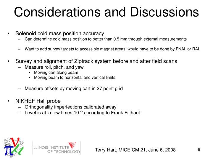 Considerations and Discussions