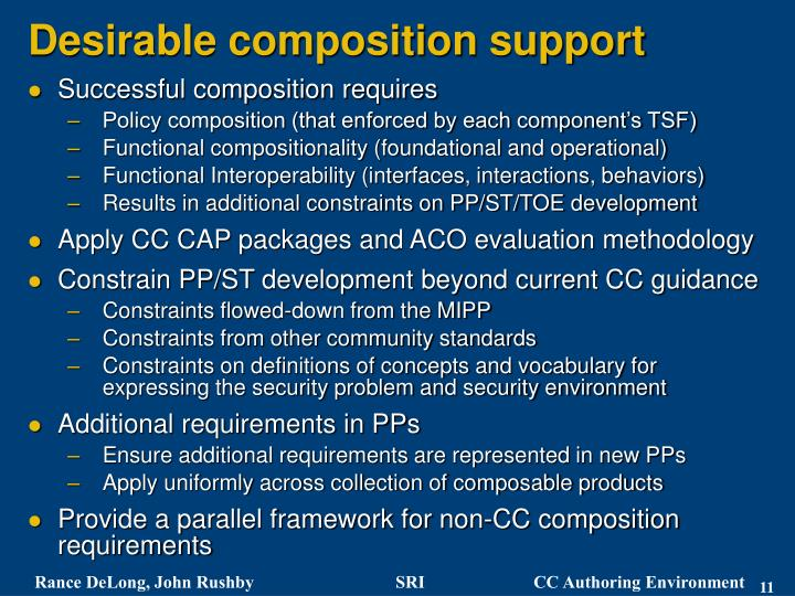 Desirable composition support