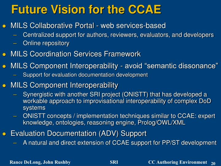 Future Vision for the CCAE
