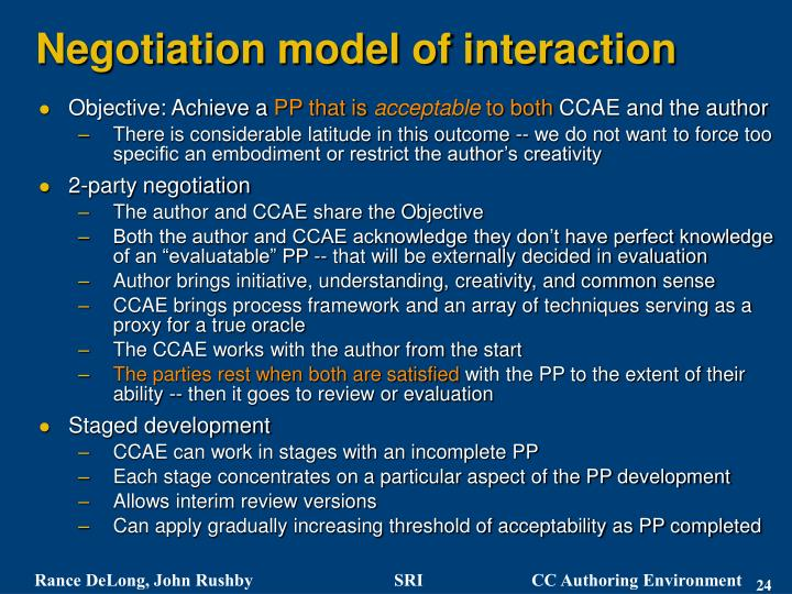 Negotiation model of interaction