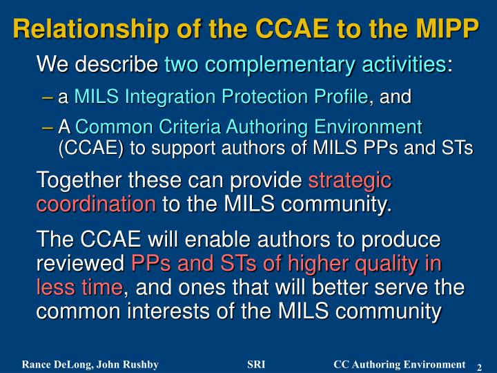 Relationship of the ccae to the mipp