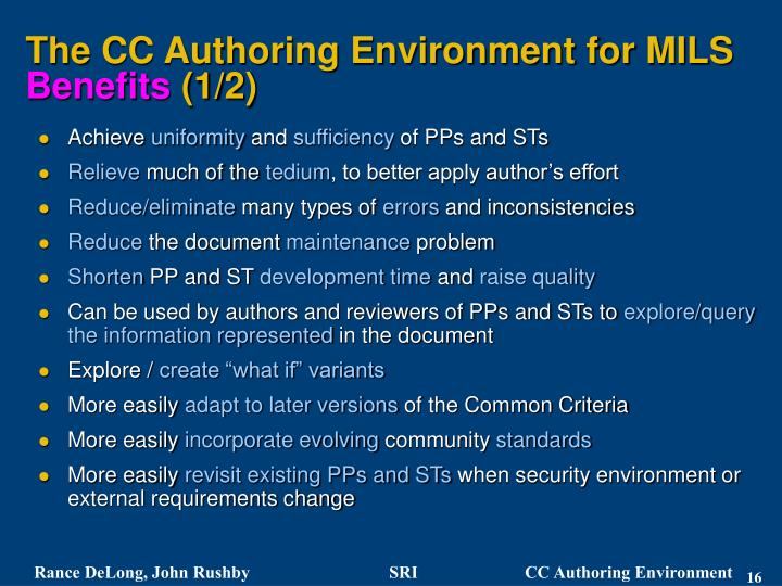 The CC Authoring Environment for MILS