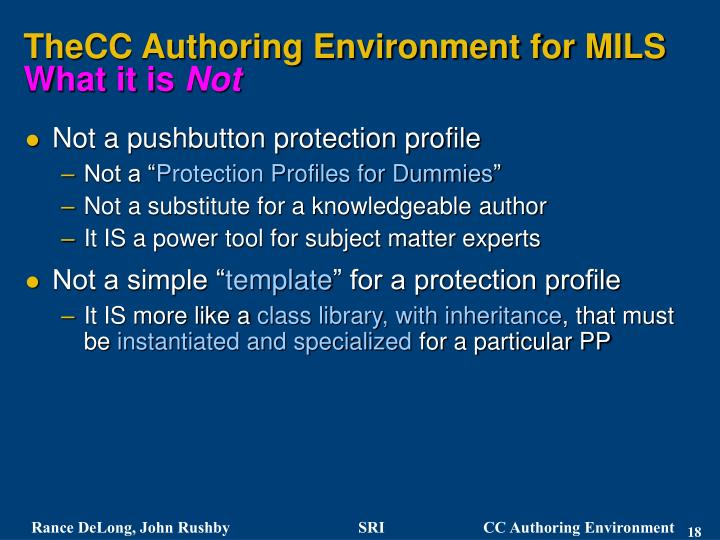 TheCC Authoring Environment for MILS