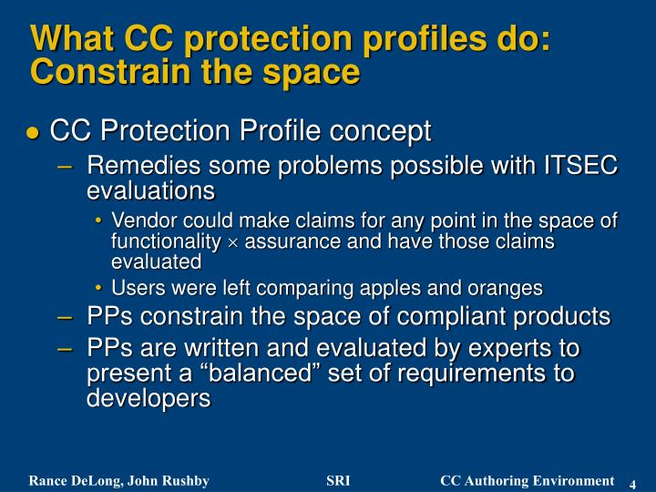 What CC protection profiles do: