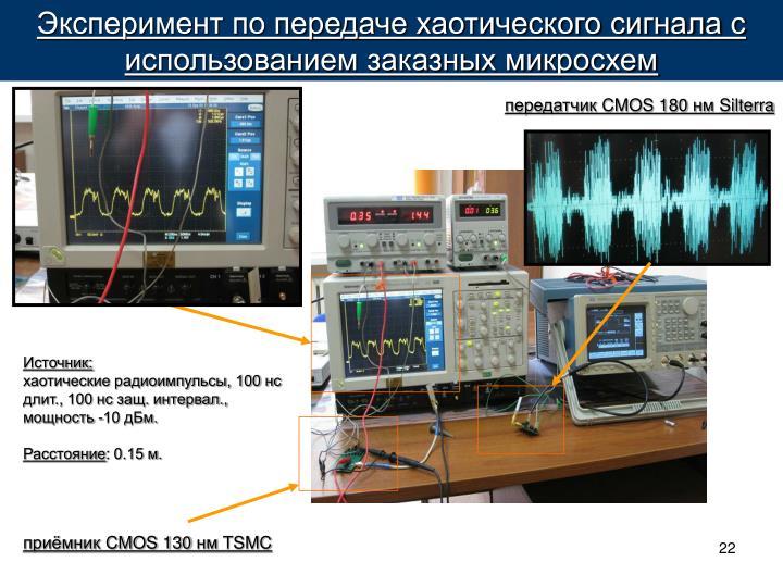 Эксперимент по передаче хаотического сигнала с использованием заказных микросхем