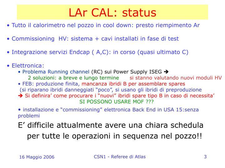 LAr CAL: status